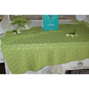 Blanket for Newborn / Pure Wool Green Tulipan - Handmade
