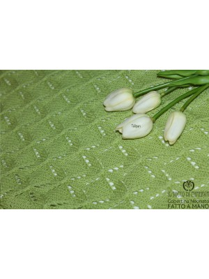 Blanket for Baby / Pure Wool Green Tulipan Handmade