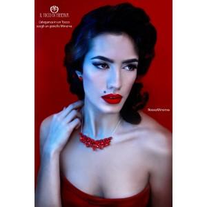 Red Eris Swarovski crystal necklace. Handmade
