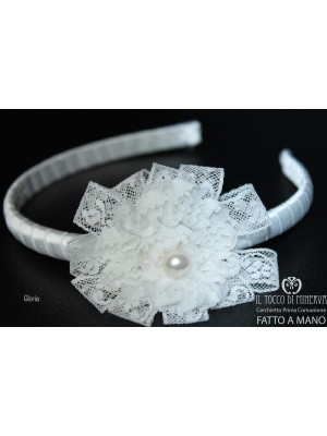Gloria White First Communion Headband - Handmade