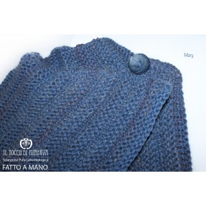 Mary Blue wool and organic wool cape scarf - handmade - HandMade