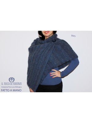 Mary Blue wool and organic wool cape scarf - handmade - HandMade