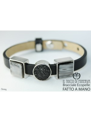 Unisex black faux leather bracelet with Chrissy modular charms Handmade by hand
