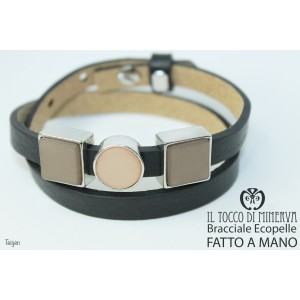 Unisex black eco-leather bracelet with Teigen modular charms Handmade by hand