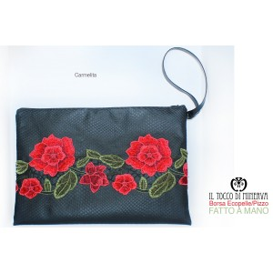 Clutch bag Ecopelle black and Carmelita lace - Handmade
