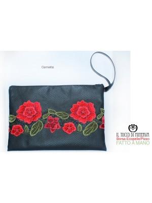Clutch bag Ecopelle black and Carmelita lace - Handmade