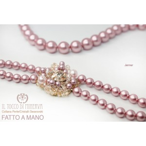 Necklace with Pearls Swarovski Crystal Jenner Antique Pink - Handmade