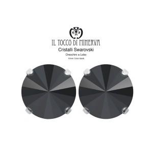 Swarovski Crystal Lobe Earrings 10 mm Black - Handmade