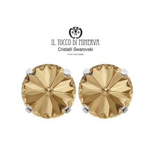 Swarovski Crystal Lobe Earrings 10 mm Gold color - Handmade