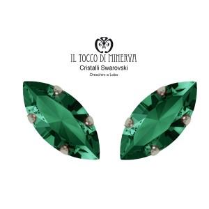 Swarovski Crystal Lobo Earrings 15x7 mm Emerald green color shuttle - Handmade