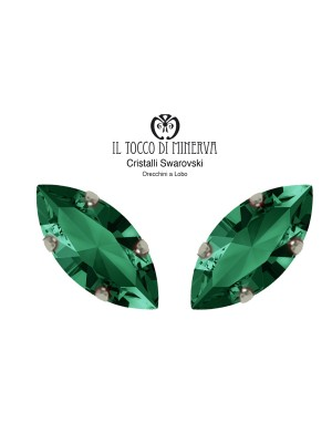Swarovski Crystal Lobo Earrings 15x7 mm Emerald green color shuttle - Handmade