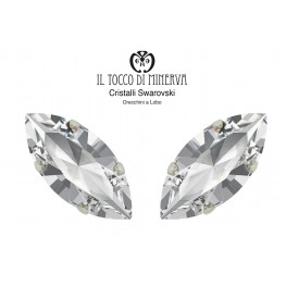 Swarovski Crystal Lobo Earrings 15x7 mm Crystal color Shuttle - Handmade