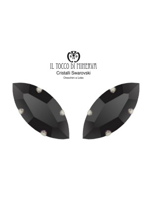 Swarovski Crystal Lobo Earrings 15x7 mm Navetta color Black - Handmade