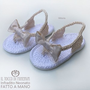 Crochet Baby Flip Flops Vittoria Cotton and Silk - Handmade