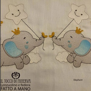 Light blue striped bed sheet with pillowcase elephant embroidery - Handmade