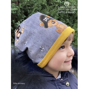 Little Monkey 100% cotton baby reversible hat - Handmade