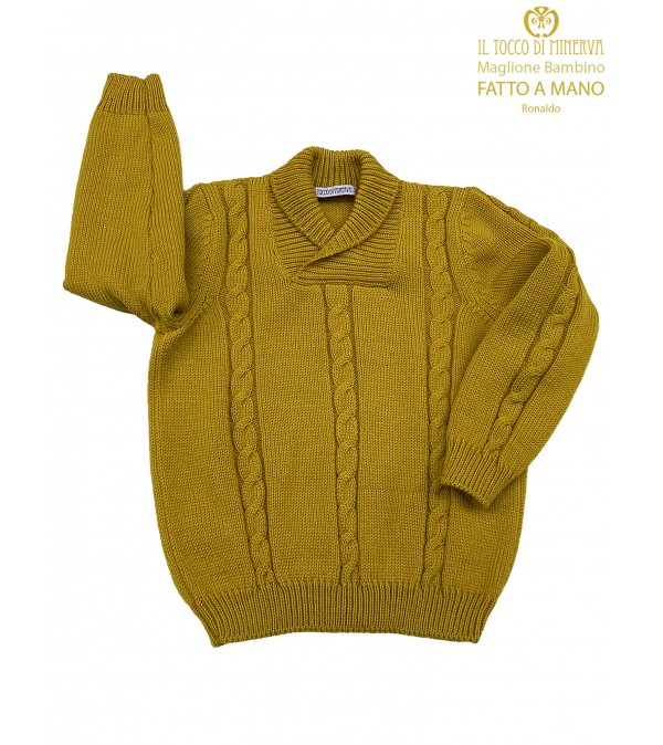 Pure Wool Mustard Baby Sweater - Handmade