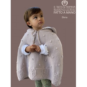 Baby Girl's Cape Pure Wool Elena in dove gray color - Handmade