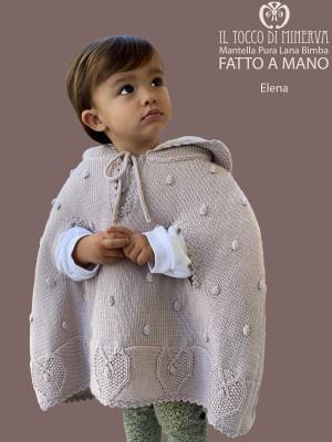 Baby Girl's Cape Pure Wool Elena in dove gray color - Handmade