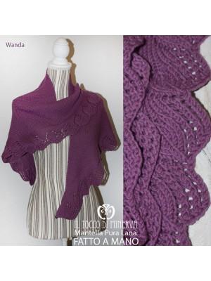 Cape Wanda Shawl woman pure wisteria wool Handmade