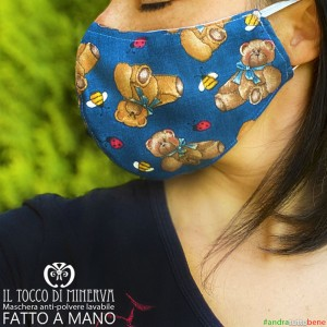 Washable dust mask will be all right blue unisex teddy bears