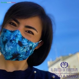 Abstract blue washable adult dust mask will be fine