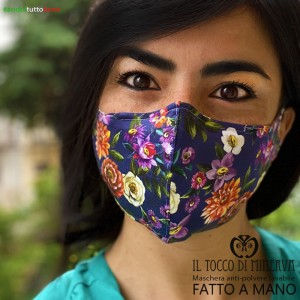 Form two anti-dust washable mask will be all right blue flowers