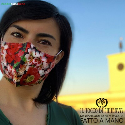 Washable dust mask with red flowers pocket will be all right