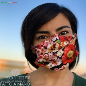 Mask form one washable dustproof it will be all right red flowers