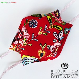 Mask shape one with abstract red washable dust pocket will be all right