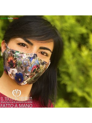 Washable anti-dust woman mask adult flower gray will be all right
