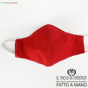 Washable dust mask will be all right red polka dot child 6-7 years