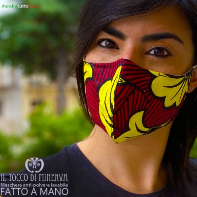 Mask shape 2 washable dust pocket will be all right africa flower bordeaux yellow