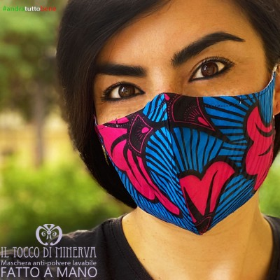 Form 2 anti-dust washable mask will be all right Africa fuchsia light blue flower