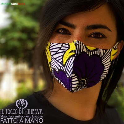 Form 2 anti-dust washable mask will be fine africa flower purple yellow