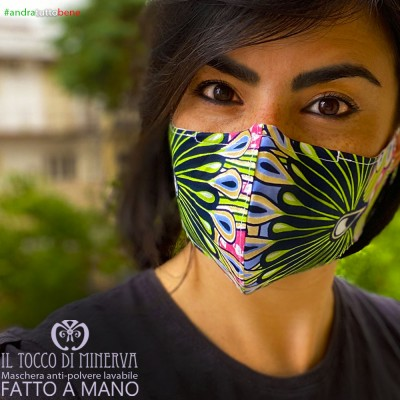 Mask shape 2 pocket anti-dust washable will be all right africa green peacock