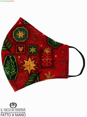 Anti-dust washable red Christmas mask - Handmade