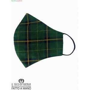 Washable anti-dust green tartan mask - Handmade