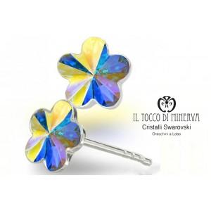 Swarovski Crystal Earrings Beyoncè Bridal Line Lobe Flower 10 mm iridescent color - Handmade