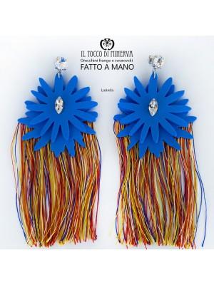 Multicolor fringed earrings and blue Swarovski crystal Lusinda Handmade