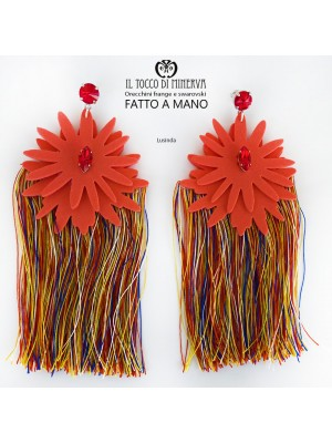 Multicolored fringed earrings and Lusinda coral swarovski crystal
