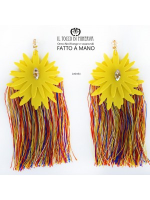 Multicolor fringed earrings with yellow Lusinda swarovski crystal