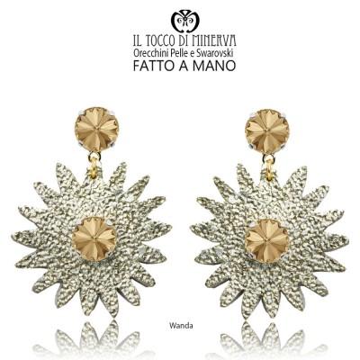 Handmade Wanda platinum leather and crystal Swarovski earrings
