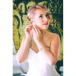 Kim Line Bridal Earrings Swarovski Crystal - Handmade