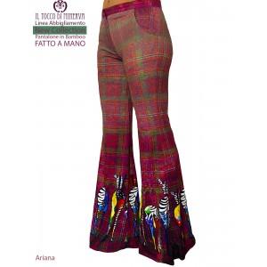Ariana trousers in natural bamboo fiber - Handmade