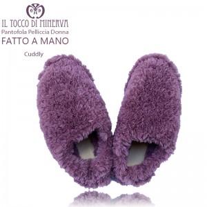 Cuddly women's fur slippers antique pink - Handmade