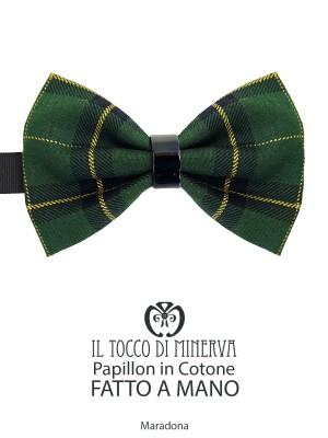 Papillon Man cotton Maradona green Tartan fabric - Handmade