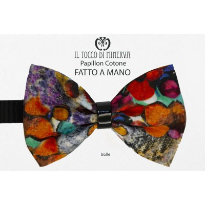Man bow tie bubbles multicolored high fashion fabric - Handmade