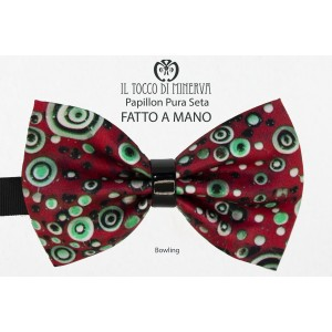 Bow tie for men Bowling multicolor silk fabric for high fashion - Handmade