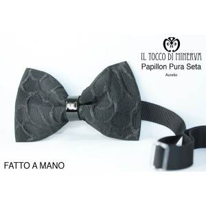 Black Bow Tie Aurelio Lina Groom high fashion fabric - Handmade